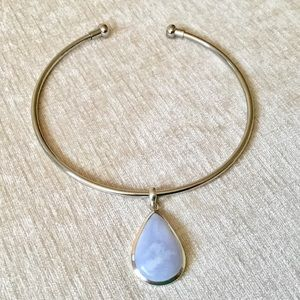 Jewelry - Sterling silver choker necklace & moonstone
